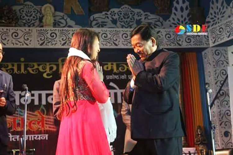 Ms. Remanti Rai with Hon'ble CM Pawan Kumar Chamling